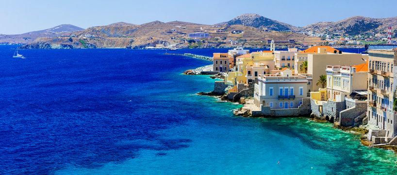beautiful Syros island - panoramic view , Ermoupoli. Greece