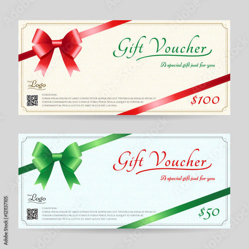 Christmas Gift Card Or Gift Voucher Template With Shiny Red And Green Bows  With Ribbon Vector  Christmas Gift Vouchers Templates
