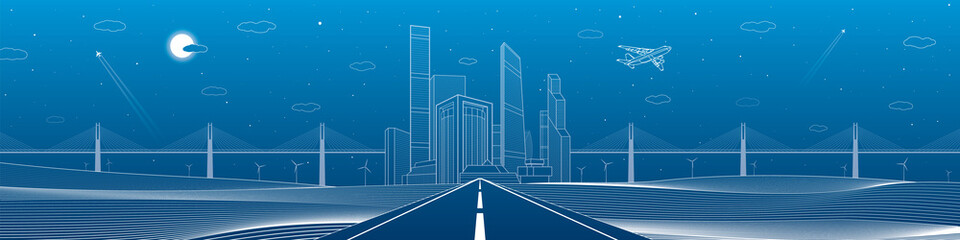 Wall Mural - Infrastructure panorama. Highway. Big bridge, business center, architecture and urban illustration, neon city, white lines composition on blue background, skyscrapers and towers, vector design art