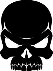 Human skull black and white