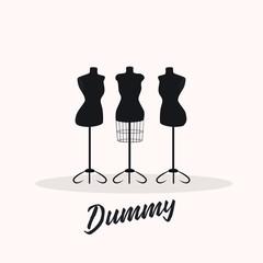 Female body vintage mannequin set. . vector