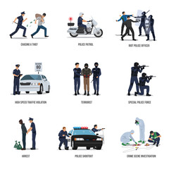 Set of policeman. Policeman at work concept.