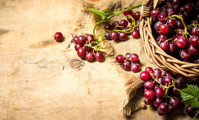 Red grapes in a basket.