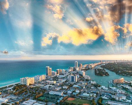 Miami Beach buildings, aerial sunset view
