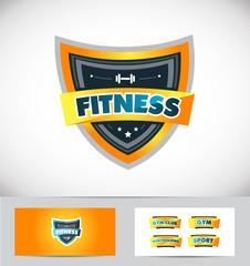 Fitness gym shield logo icon design