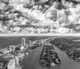 Miami Beach from the air, black and white aerial view