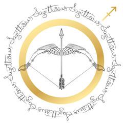 Zodiac sign Sagittarius. Horoscope card in zentangle style.