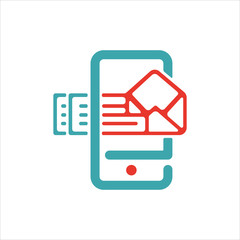 Vector illustration of mail arrow icon on smartphone screen.
