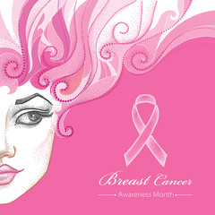 Vector illustration of half beautiful dotted girl face with ribbon on the pink background. Design for international health campaign for woman. Breast Cancer Awareness Month symbol in dotwork style.
