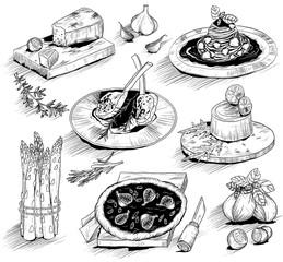 hand drawn illustration with Italian food