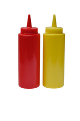 Red plastic ketchup and yellow mustard plastic bottle on white background.