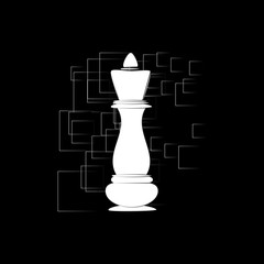 Chess King Icon on an abstract background. Vector