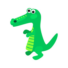 Cartoon crocodile vector illustration. Green kid alligator for textile print.