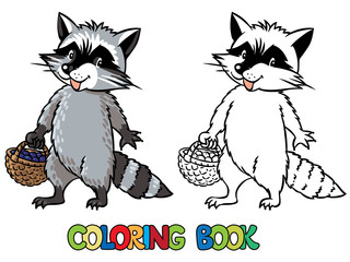 Coloring book of little funny raccoon