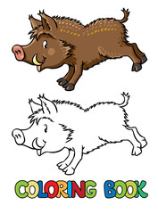 Coloring book of little funny boar or wild pig