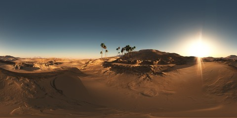 Foto op Textielframe Zandwoestijn panorama of palms in desert at sunset. made with the one 360 deg