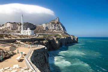Europa Point with Ibrahim-al-Ibrahim Mosque and the profile of Gibraltar Rock.