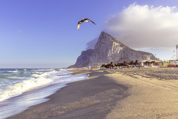 View of the Gibraltar rock from the beach of Linea, Spain.