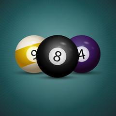 Billiard balls. American pool. Logo for the billiard club. Billiard balls on a blue background.