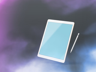 Mock up of a tablet pc, floating over dark background with stylus
