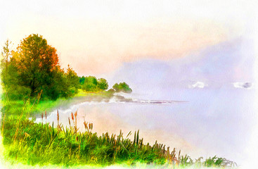 watercolor painting, summer landscape, grass, river and the bright summer sun