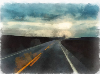 View of the road in the early morning, watercolor illustration
