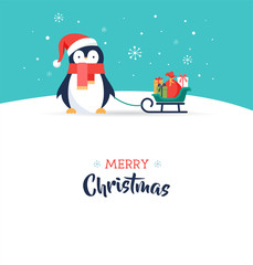 Cute penguin - Merry Christmas greeting card