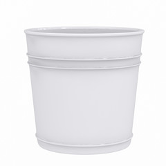3d rendering white empty pot isolated on white