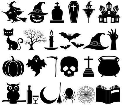 Halloween icons set collection