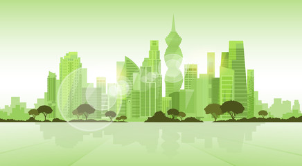 Panama City Skyscraper View Cityscape Background Skyline Green Silhouette with Copy Space