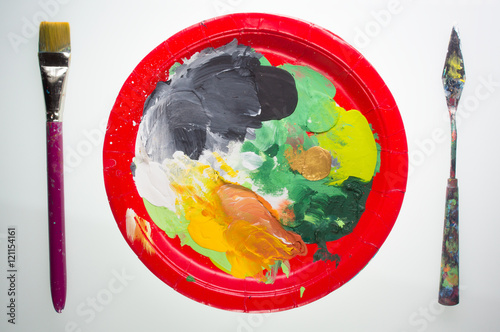 paint pallet tools a paint pallet on paper plate set like a
