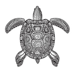 Terrapin, turtle painted tribal ethnic ornament. Hand drawn vector illustration with decorative patterns