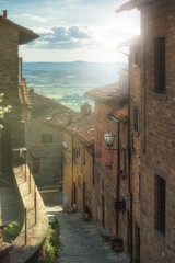 Beautiful streets and corners of the Tuscan town of Cortona, Ita