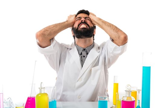 Frustrated scientist man