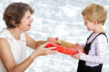 Child and woman with gift
