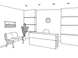 Reception office interior graphic art black white sketch illustration vector