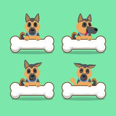 Cartoon character german shepherd dog with big bones