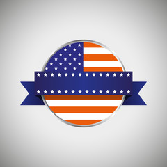 Round banner with the american flag and a ribbon for text. Vector Illustration.