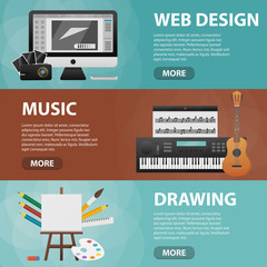 Set of vector flat isolated horizontal banners of web design, music and drawing for website. Business concept of creative subject, art and graphic content.