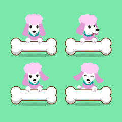 Cartoon character poodle dog with big bones