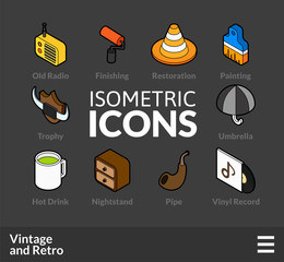 Isometric outline icons set 50