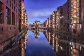 Fotobehang Kanaal Hamburg Speicherstadt