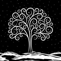 Illustration on tree in winter on black background