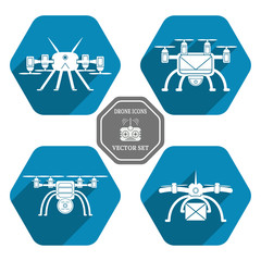 Vector set of isolated icons silhouettes drones with shadow in hexagons on the blue background.
