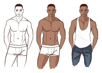 Handsome black male model with nice abs in underwear and jeans.