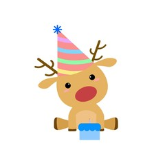 Cartoon Rudolf Red Nosed Reindeer Birthday