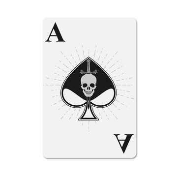 Cover for the deck of poker cards. Ace of Spades. The skull is pierced by a dagger. Ace of spades skull. Skull with a knife.