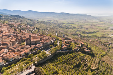 the medieval town of Cortona in Tuscany - Italy