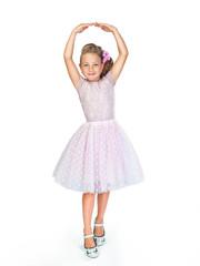 little dancer in a beautiful pink dress