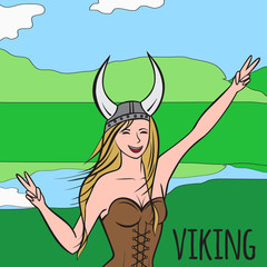 Vikings warriors nordic girl, scandinavian woman in helmet. Norwegian culture and nature, Morway landscape